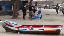 Beach with fishing boats in cape verde africa Footage