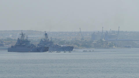 Amphibious landing - Parade of Russian Navy Day Live Action