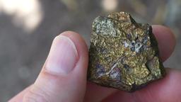 Sulfide Copper Ore Rock Chip Sample Closeup Footage