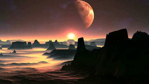 Two Moons And Sunrise On A Planet Of Aliens Animation