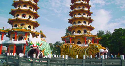 Lotus Pond's Dragon and Tiger Pagodas. kaohsiung city. Taiwan Live Action