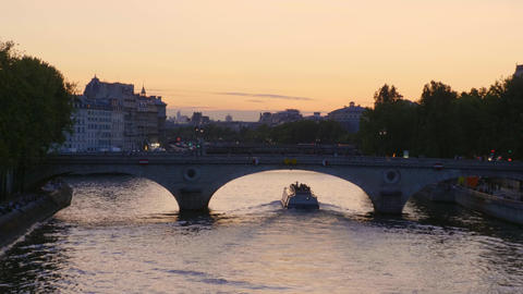 View over River Seine at Paris in the evening Footage