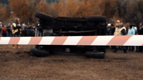jeep competitions, accident, car turned over, injury Live Action