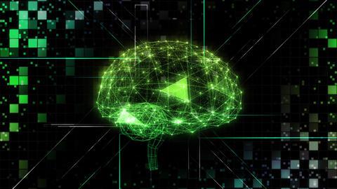 AI, artificial intelligence digital network technologies 19 2 Brain Human Logo Grid BG 0 green 4k Animation