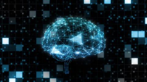 AI, artificial intelligence digital network technologies 19 2 Brain Human Logo Grid BG 0 blue 4k Animation