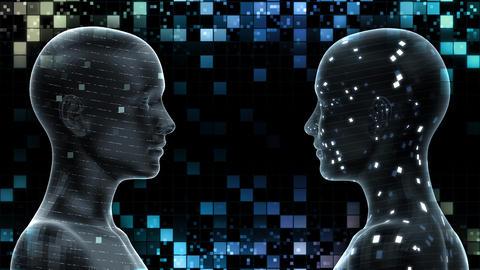 AI, artificial intelligence digital network technologies 19 2 Duo Grid BG 0 blue 4k Animation