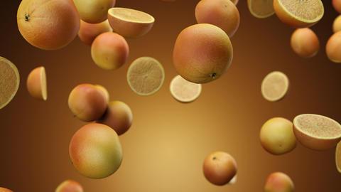 Slowly falling oranges on an orange background Live Action