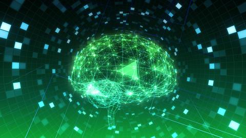 AI, artificial intelligence digital network technologies 19 2 Brain Human Logo Grid BG 1 green 4k Animation