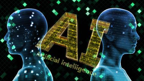 AI, artificial intelligence digital network technologies 19 2 Duo Grid BG 0 red 4k Animation