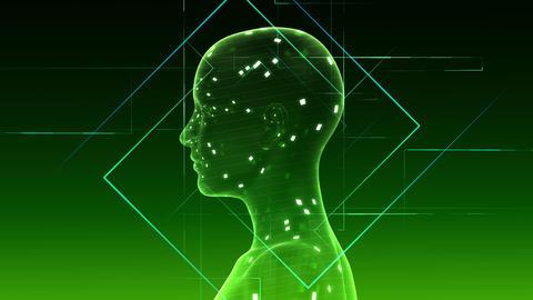 AI, artificial intelligence digital network technologies 19 2 Brain Human Logo 1 green 4k Animation
