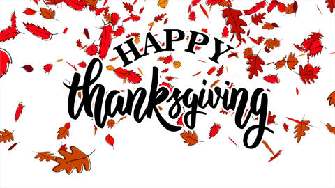 Happy Thanksgiving. Animated Card with falling autumn leaves Live Action