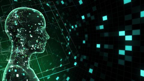 AI, artificial intelligence digital network technologies 19 1 Human Grid BG 1A green2 4k Animation