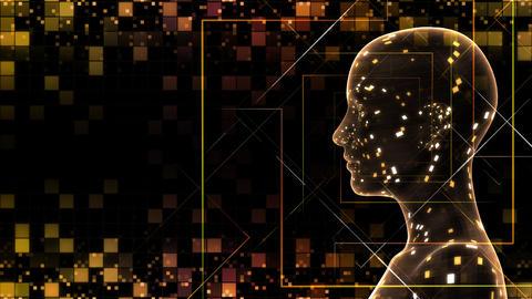 AI, artificial intelligence digital network technologies 19 1 Human Grid BG 0A red 4k CG動画
