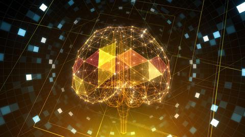 AI, artificial intelligence digital network technologies 19 1 Brain Grid BG 1 red 4k Animation