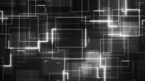 Complex sci-fi looping background formed by white glowing circuit square lines Animation
