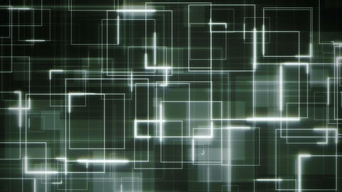 Complex sci-fi green background loop formed by white glowing circuit square lines CG動画