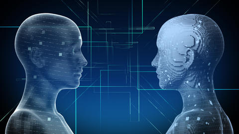 AI, artificial intelligence digital network technologies 19 2 Duo 1 blue 4k Animation