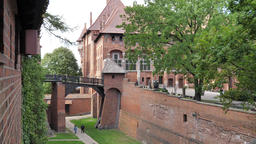 Castle in Malbork, moat between middle castle and high castle Live Action