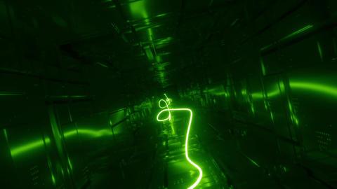 Sci fi Tunnel Loop green neon rope Animation