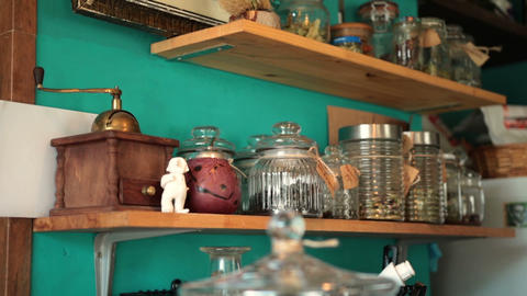 Old vintage kitchen shelves with seasonings Live Action