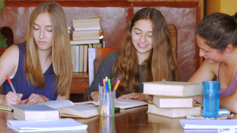 Attractive teenage girls look for answers in books, share the knowledge with eac Footage