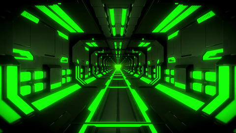 3D Green Hi-Tech Neon Tunnel Loop Motion Background Animation