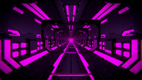3D Purple Hi-Tech Neon Tunnel Loop Motion Background Videos animados