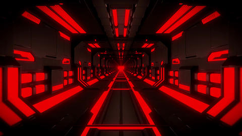 3D Red Hi-Tech Neon Tunnel Loop Motion Background Videos animados