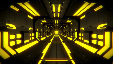 3D Yellow Hi-Tech Neon Tunnel Loop Motion Background Videos animados