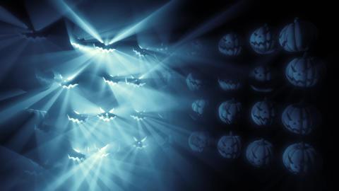 Halloween Pumpkins blue Light grid Loop Animation
