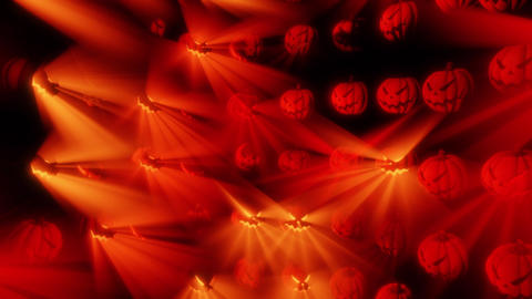 Halloween Pumpkins warm light circular grid Loop Animation