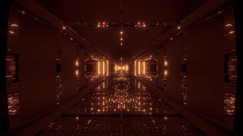 futuristic glowing sci-fi tunnel corridor with massiv nice reflections 3d Animation