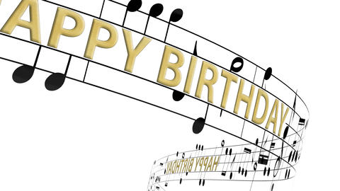 Music notes flowing with message happy birthday in gold color, seamless animation Animation