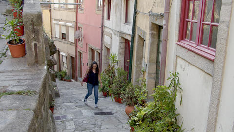 Walking through the historic district of Porto in Portugal Footage