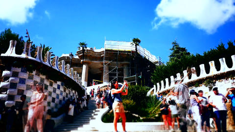 time lapse shot of Spain Park Guell Footage