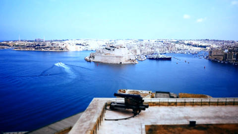 the firing of cannon at the Saluting Battery at Malta Footage