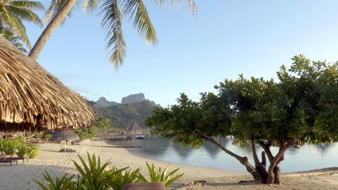 Bora Bora beach vacation paradise island overwater bungalows hotel resort Footage