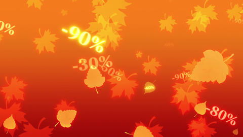Greater autumn discounts (dumping,%, percentages, purchase, sale). Shining and blinking golden Animation
