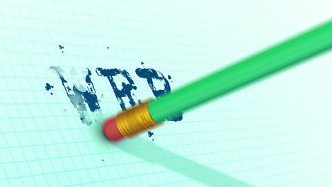 Green Pencil eraser erasing text -web- Animation