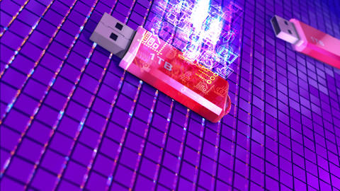 3D Usb stick with 1Tb memory space Animation