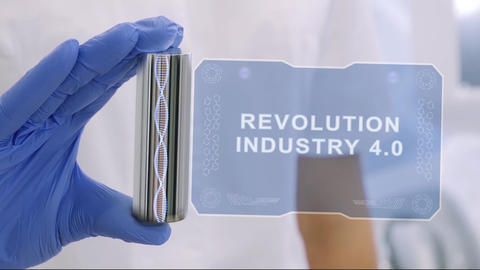 Hand in glove with hologram Revolution Industry 4.0 Footage