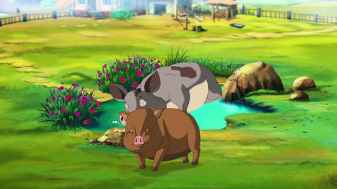 Mother Pig and little brown Piggy near a Puddle Animation
