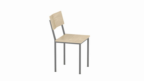 Wood chair on white background Animation