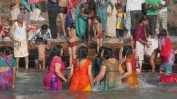 Lady pilgrims circle dip in sacred Ganga river,Har-Ki-Pauri,Haridwar,India Footage