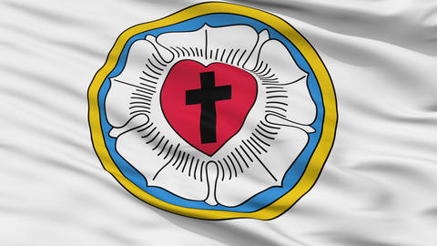 Lutheran Religious Close Up Waving Flag Animation