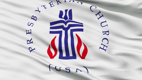 Presbyterian Religious Close Up Waving Flag Animation