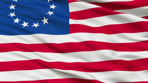 13 Stars Betsy Ross USA Close Up Waving Flag Animation