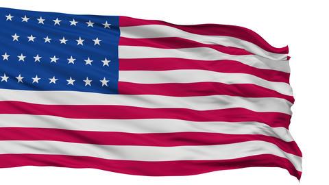 27 Stars USA Isolated Waving Flag Animation