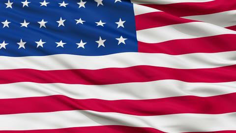 28 Stars USA Close Up Waving Flag Animation