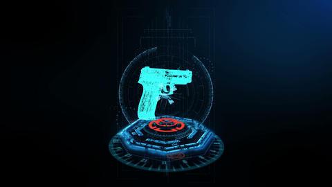 3D Scene Handgun footage Animation